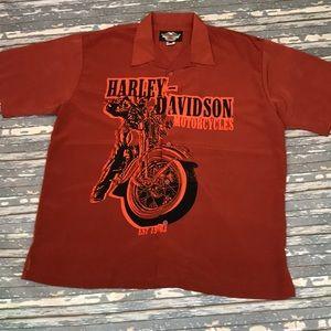 🔥 Harley Davidson mens 3XL button up shirt EUC